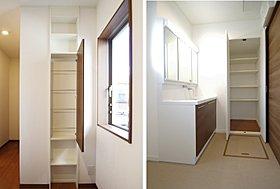 2号地 玄関、洗面の収納