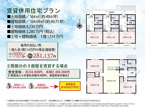 土地-杉並区井草1丁目 参考プラン 賃貸併用住宅なら家賃収入を得ることが出来ます