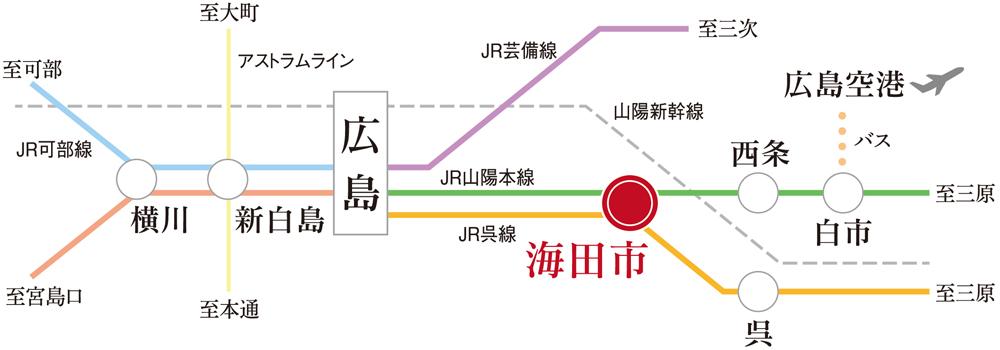 クラース海田南大正町:交通図
