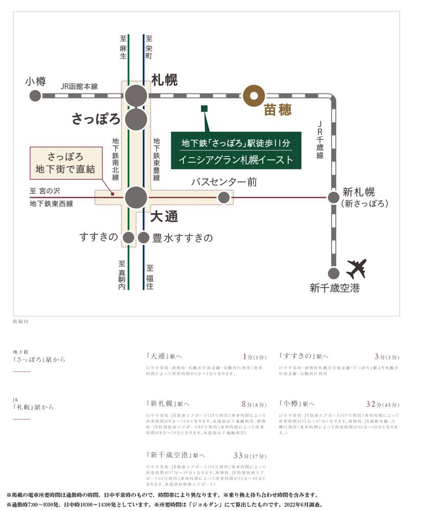 イニシアグラン札幌イースト:交通図