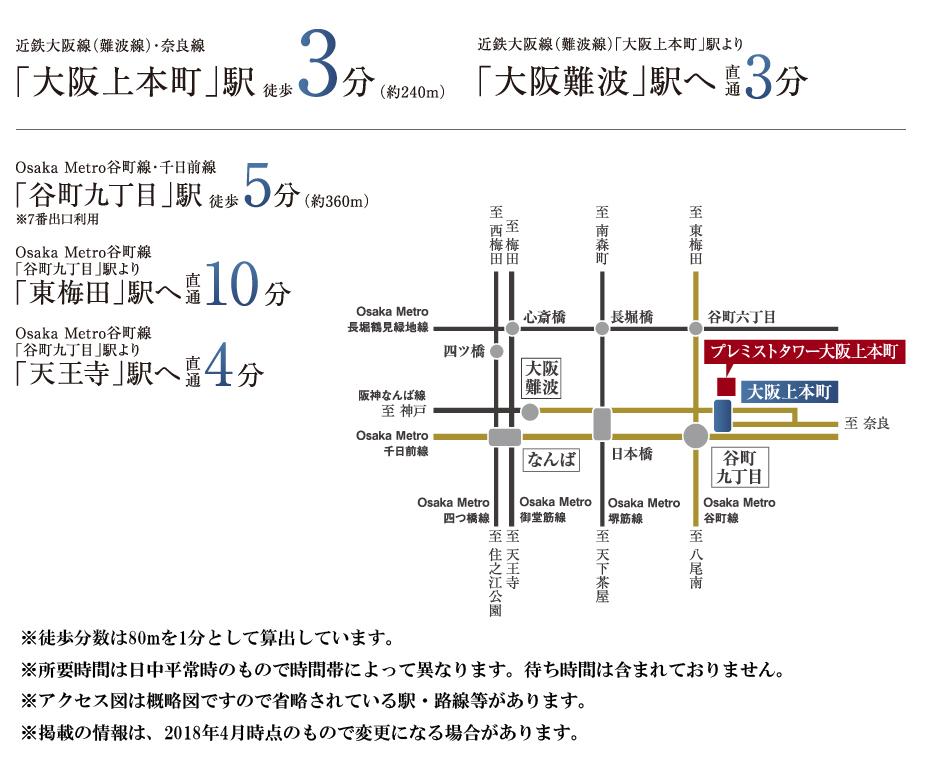 プレミストタワー大阪上本町:交通図
