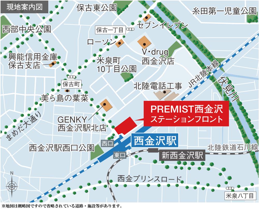 プレミスト西金沢 ステーションフロント:案内図