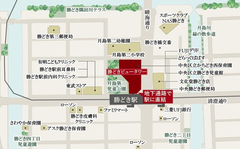 勝どきビュータワー:モデルルーム地図