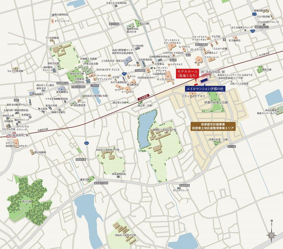 エイルマンション伊都の杜:モデルルーム地図