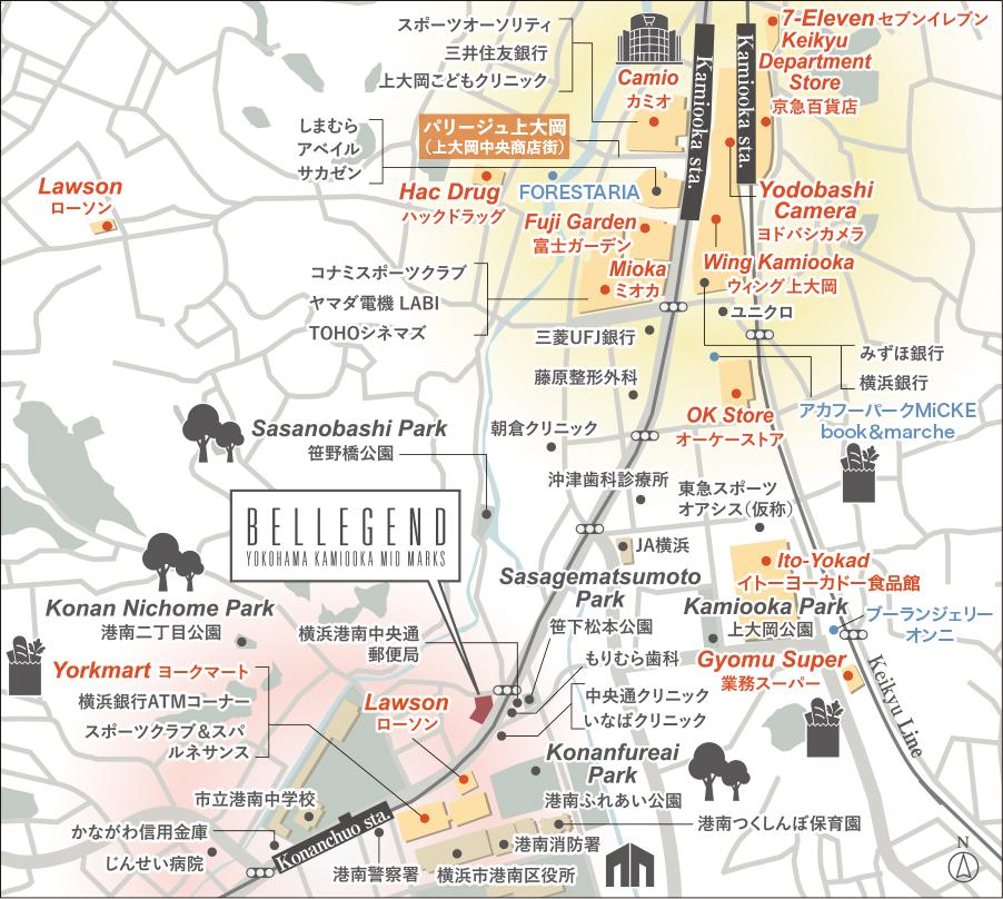 ベルジェンド横濱上大岡ミッドマークス:案内図