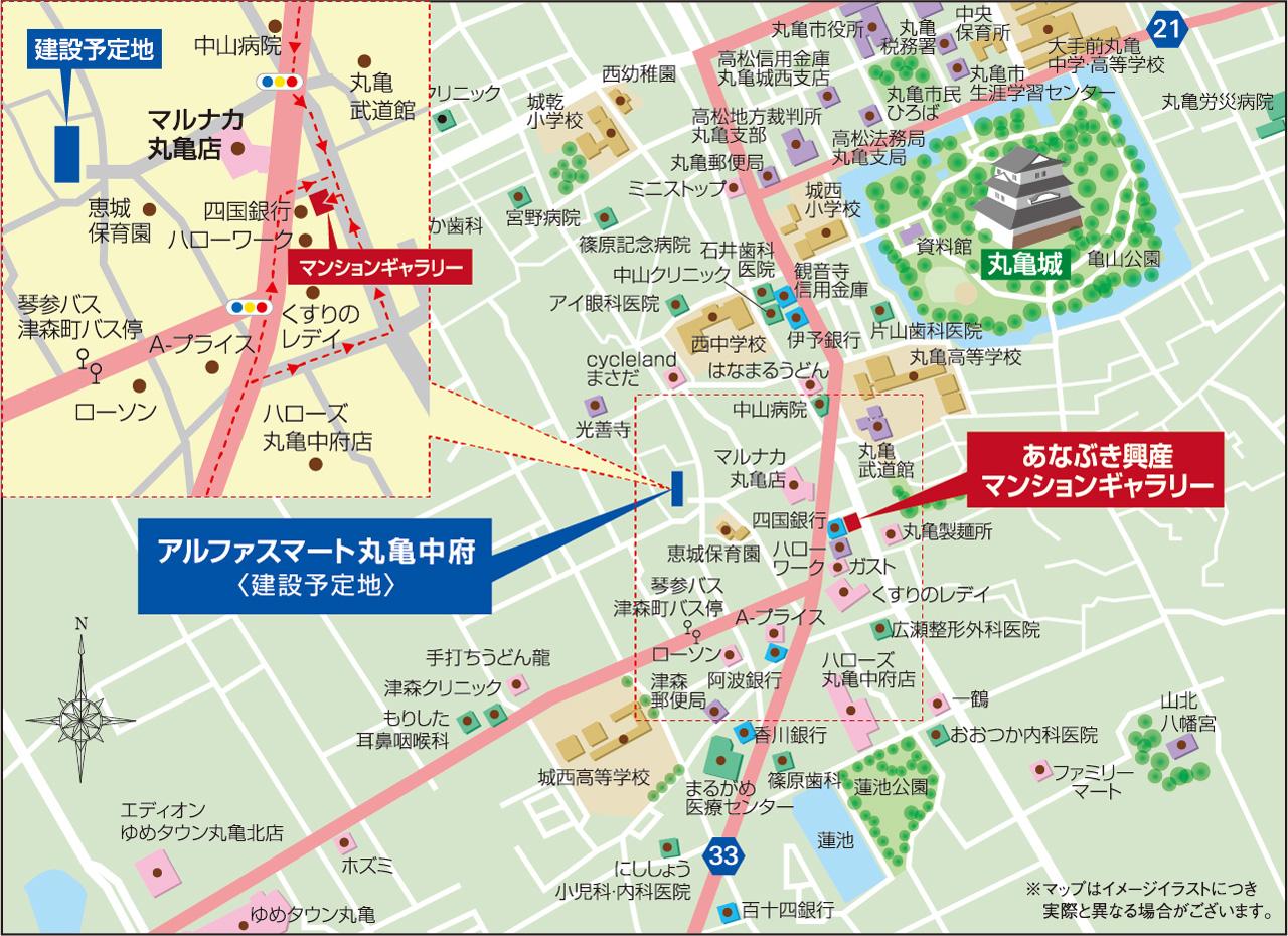 アルファスマート丸亀中府:モデルルーム地図