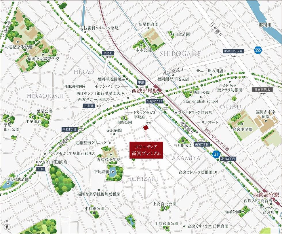 フリーディア高宮プレミアム:交通図