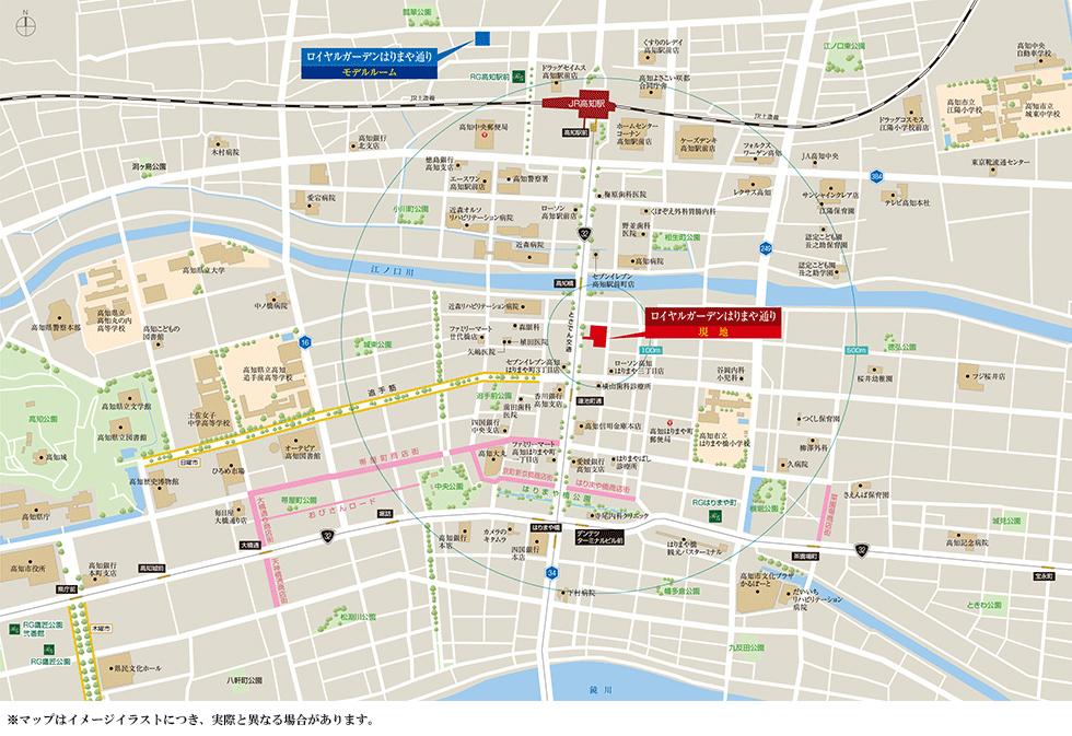ロイヤルガーデンはりまや通り:モデルルーム地図