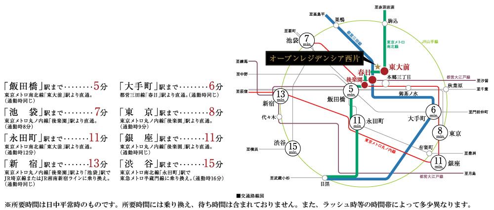オープンレジデンシア西片:交通図