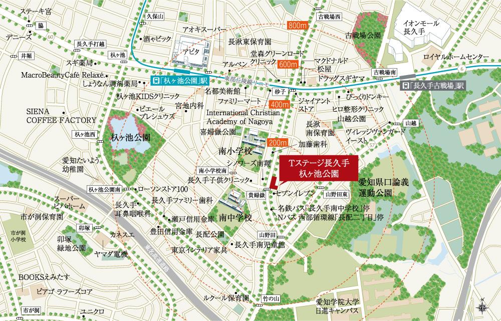 T-STAGE 長久手 杁ヶ池公園:案内図