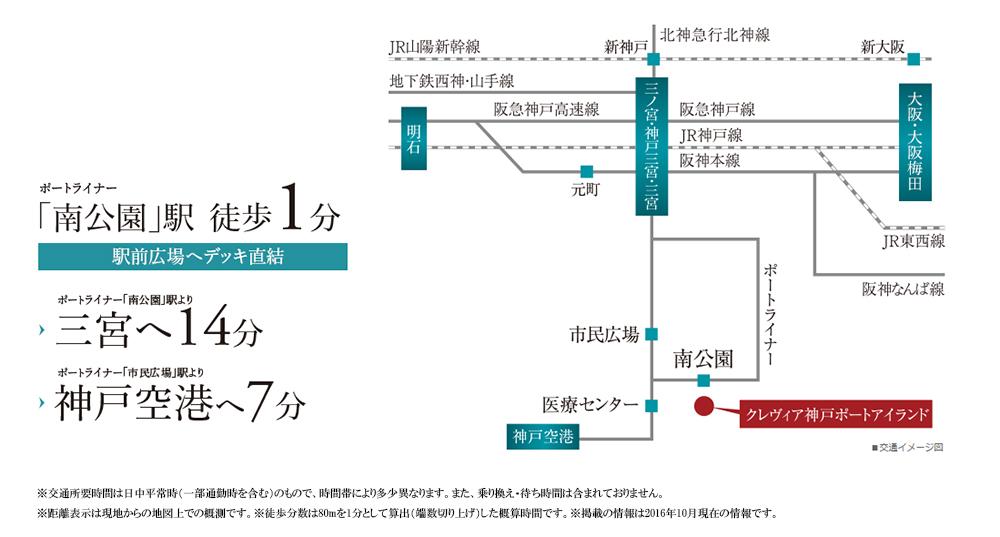 クレヴィア神戸ポートアイランド:交通図