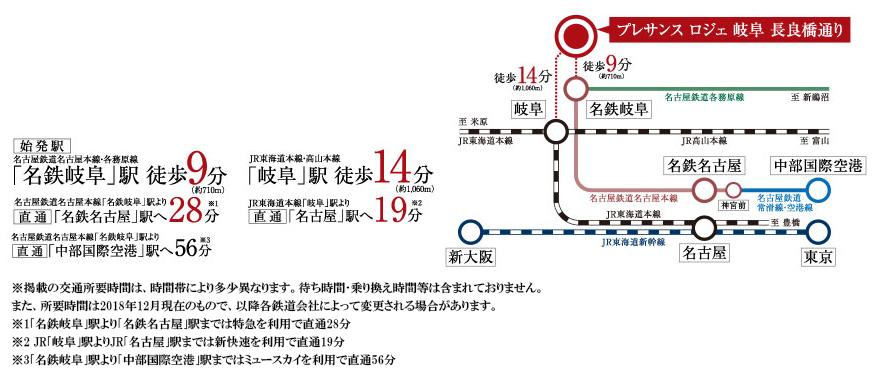 プレサンス ロジェ 岐阜 長良橋通り:交通図