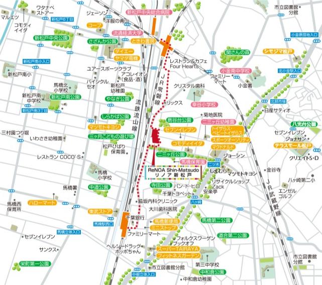 リノア新松戸:モデルルーム地図