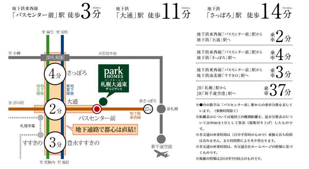 パークホームズ札幌大通東 ザ レジデンス:交通図