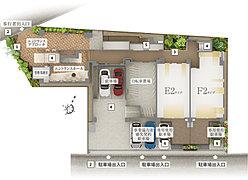 【1】シンボルツリー【2】歩車分離アプローチ【3】中庭【4】各所に防犯カメラを設置【5】防災備蓄倉庫【6】専用使用駐車場