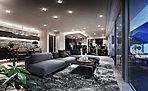 【ダイニングルーム】空間に華美な装飾を押し付けることで得られる、見た目の「贅」ではなく、プランニングや壁や床の素材、仕様のひとつひとつに熟考を重ね、素材の持ち味や感触、デザインを厳選しました。