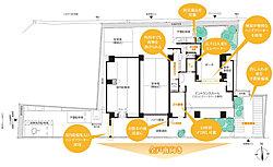 解錠が便利なハンズフリーキーを採用。平置き駐車場・宅配BOX・ペット足洗い場等、利便性と機能性を兼ね備えた共有空間。