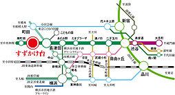 【ダイワハウス】プレシャススクエアすずかけ台 第2期(建築条件付宅地分譲):交通図