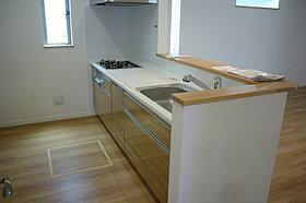 食器洗い乾燥機付オープン対面システムキッチン(現地写真)