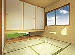 [完成イメージ図] 国産いぐさの畳の和室は落ち着く空間です。押入れも充実しています。