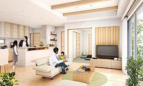 リビングの天井に渡した化粧梁が、優雅さと遊び心を演出します。