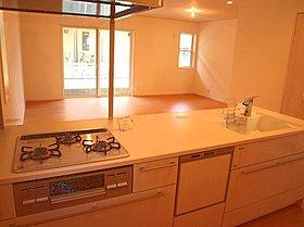 食器洗い乾燥機が標準装備のアイランドシステムキッチン。