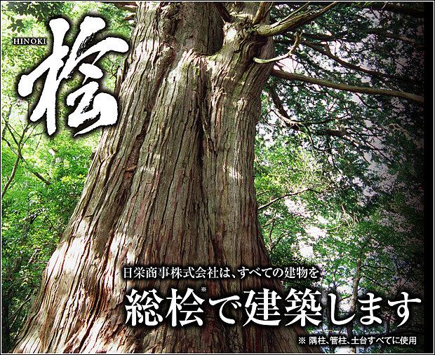 【総桧住宅】すべての建物を総桧で建築します。日栄商事は高知県と「土佐材パートナー企業」を結んでいます。隅柱、管柱、土台すべてに使用。
