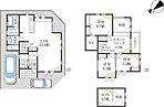 【間取り】家族が生活する1階スペースをできる限りワイドに設計したプランです。吹抜、セカンドリビング、ロフトが効果的に配置され、機能的で豊富な収納スペースもご用意いたしました。