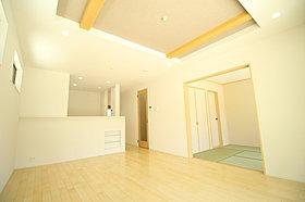 折上天井を採用、開放感溢れるリビング!床暖房付、冬もぽかぽか