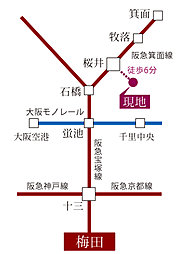 【桜井駅徒歩6分】スピガタウン箕面・桜井:交通図