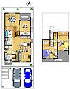 (3号地間取り図) 土地面積:144.95m2(43.84坪) 建物面積:98.00m2(29.89坪)4LDK・ガレージ2台付! ALSOK(ホームセキュリティ・防犯カメラ)が標準装備!