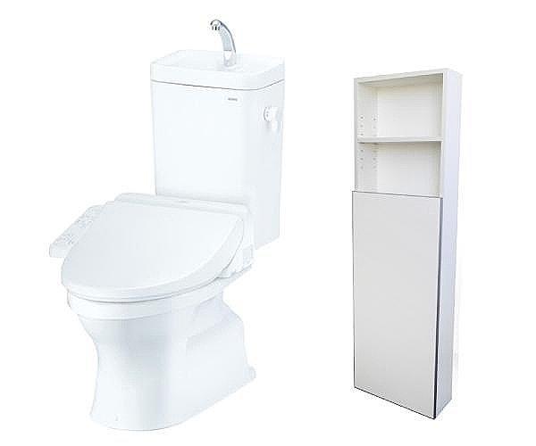 【【TOTO】フチなしトルネード洗浄便器】水道代約7割カットのトイレットペーパーや掃除用具も片付く収納付(1・2階)(同仕様)