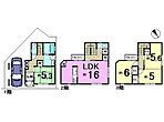 間取り(現地モデルハウス)(1)LDKは広々16帖。(2)2Fに収納スペースを3ヶ所設置しているので整理整頓も楽々。(3)3Fはお子様の成長に応じて対応できる工夫を施しました。