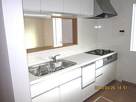 システムキッチン・ダウン式吊戸棚・パネル等の色彩選択出来ます