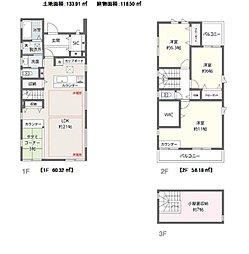 約21帖のLDKには床暖房。家族との会話も楽しめる対面キッチン。食材など収納できるカップボードあり。2階の洋室は全て6帖以上。小屋裏収納あり。