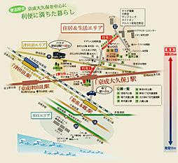 南東角地、南道路区画有り 【京成大久保エリア】最大級全33区画 :案内図