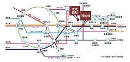 【初掲載】新築3,000万円台の西船橋駅徒歩圏、建物を1から自由に設計で夢のマイホーム:交通図