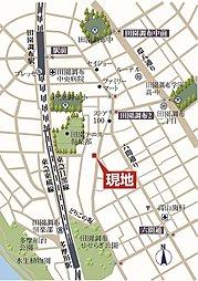 2区画分譲・田園調布2丁目売地・建築条件なし:案内図
