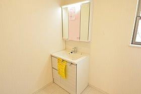 忙しい朝の強い味方!洗面化粧台はシャワー付になっています。