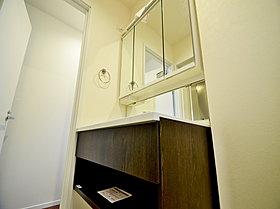 収納たっぷりの三面鏡つき洗面台。毎朝身支度で活躍するスペース
