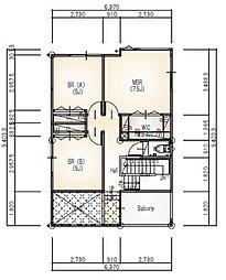 【2階平面図】主寝室にはWIC、子ども部屋にもCLを設け、バルコニーは1段上がって陽当たりも良好