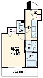 スカイコート成城学園前 4階1Kの間取り