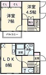 ロータスハウス 1階2DKの間取り