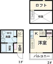 名鉄常滑線 豊田本町駅 徒歩6分の賃貸テラスハウス 1階1Kの間取り