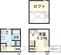 ラ・ルーチェ鶴田 1階1Kの間取り