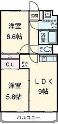 JR東海道本線 浜松駅 バス1分 天竜営業所下車 5.6kmの賃貸マンション 3階2LDKの間取り