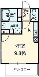 JR高崎線 尾久駅 徒歩14分の賃貸マンション 5階ワンルームの間取り