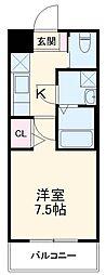 JR中央線 吉祥寺駅 徒歩10分の賃貸マンション 2階1Kの間取り
