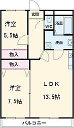 名古屋市営東山線 星ヶ丘駅 バス10分 高針口下車 徒歩4分の賃貸マンション 2階2LDKの間取り