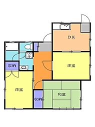 JR東海道本線 原駅 徒歩10分の賃貸一戸建て 1階3DKの間取り